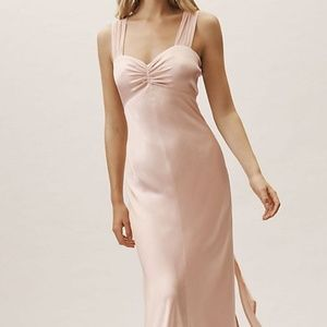 BHLDN Anthropologie Nude/Tan Silk Bea dress